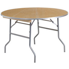 4-Foot Round HEAVY DUTY Birchwood Folding Banquet Table with METAL Edges