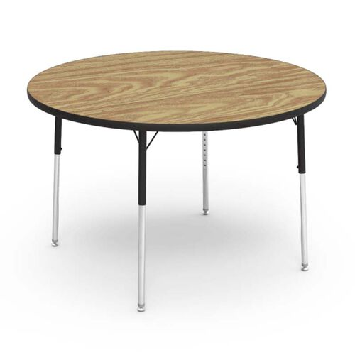 Quick Ship 4000 Series Adjustable Height Round Laminate Activity Table with Medium Oak Top - 48