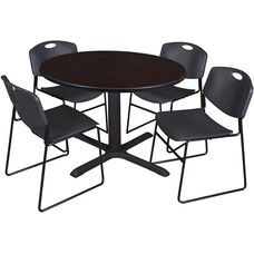 Cain 48'' Round Laminate Breakroom Table with 4 Zeng Stack Chairs - Walnut Table Finish and Black Chairs
