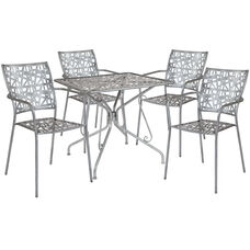 """Agostina Series 31.5"""" Square Antique Silver Indoor-Outdoor Steel Patio Table with 4 Stack Chairs"""