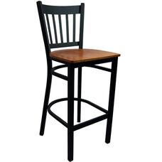 Advantage Vertical Slat Back Metal Bar Stool - Cherry Wood Seat