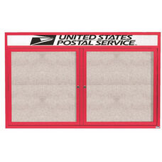 2 Door Outdoor Enclosed Bulletin Board with Header and Red Powder Coated Aluminum Frame - 36