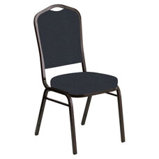 Crown Back Banquet Chair in Cobblestone Tartan Blue Fabric - Gold Vein Frame