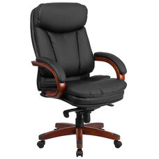 High Back Black Leather Executive Swivel Chair with Synchro-Tilt Mechanism, Mahogany Wood Base and Arms