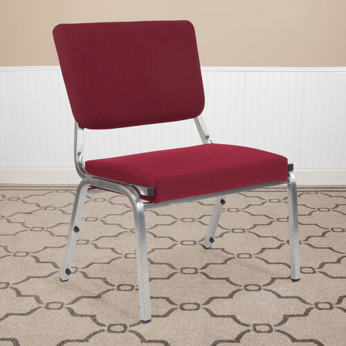HERCULES Series 1500 lb. Rated Burgundy Antimicrobial Fabric Bariatric Antimicrobial Medical Reception Chair with 3/4 Panel Back