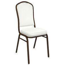 Embroidered Crown Back Banquet Chair in E-Z Wallaby White Vinyl - Gold Vein Frame