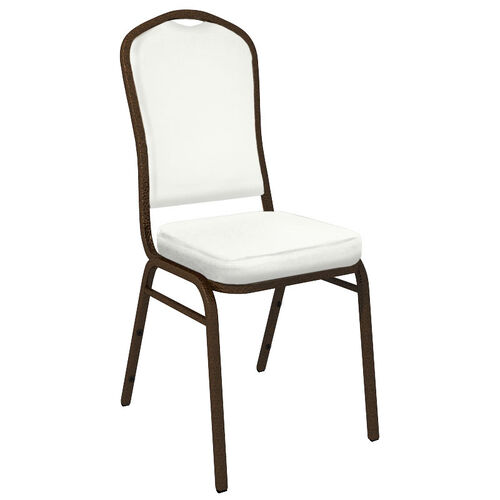 Our Embroidered Crown Back Banquet Chair in E-Z Wallaby White Vinyl - Gold Vein Frame is on sale now.