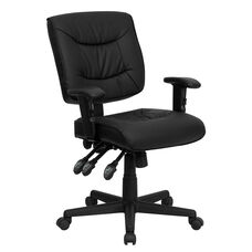 Mid-Back Black Leather Multifunction Swivel Task Chair with Adjustable Arms