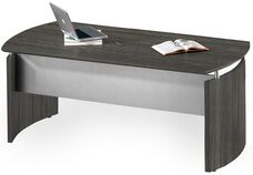 Medina 63'' W x 36'' D x 29.5'' H Curved End Desk with Silver Modesty Panel - Gray Steel Laminate