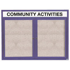 2 Door Outdoor Illuminated Enclosed Bulletin Board with Header and Blue Powder Coated Aluminum Frame - 48