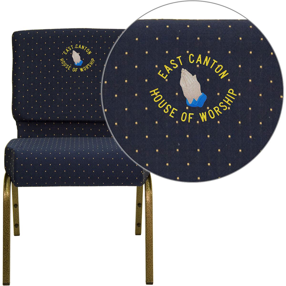 Blue Dot Fabric Church Chair Fd Ch0221 4 Gv S0810 Emb Gg