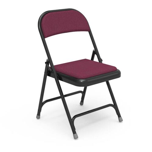 Multi-Purpose Steel Folding Chair with Sedona Ruby Fabric Pads and Black Frame - 17.75
