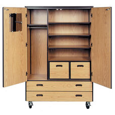 Mobile Teachers Storage Cabinet w/Full and File Drawers