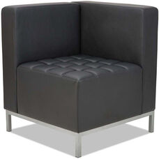 Alera® QUB Series Corner Sectional with Tufted Seat and Silver Steel Legs - Black