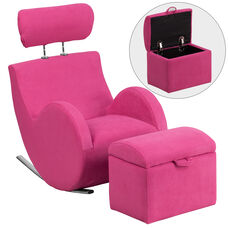 HERCULES Series Pink Fabric Rocking Chair with Storage Ottoman