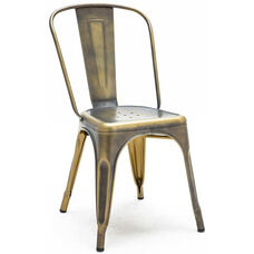 Dreux Vintage Brass Stackable Steel Armless Side Chair - Set of 4