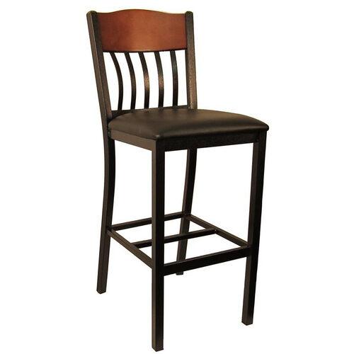 Metal Vertical Slat Back Barstool with Black Vinyl Seat