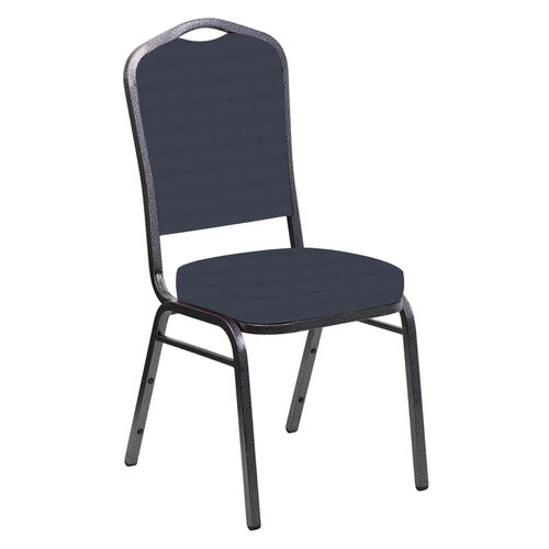 Our Embroidered Crown Back Banquet Chair in Harmony Navy Fabric - Silver Vein Frame is on sale now.