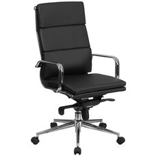 High Back Black Leather Executive Swivel Office Chair with Synchro-Tilt Mechanism and Arms