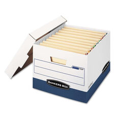 Bankers Box® STOR/FILE Max Lock Storage Box - Letter/Legal - White/Blue - 12/Carton