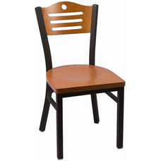 Eagle Series Wood Back Armless Chair with Steel Frame and Wood Seat - Cherry