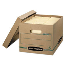 Bankers Box® STOR/FILE Storage Box - Letter/Legal - Lift-off Lid - Kraft/Green - 12/Carton
