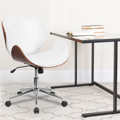 Mid-Back Walnut Wood Conference Office Chair in White LeatherSoft