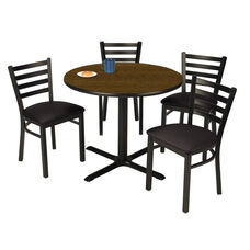 42'' Round Walnut Laminate Table Set with X-Base and Black Vinyl Upholstered Cafe Chairs - Seats 4
