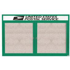 2 Door Outdoor Illuminated Enclosed Bulletin Board with Header and Green Powder Coated Aluminum Frame - 48