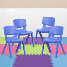 4 Pack Blue Plastic Stackable School Chair with 15.5