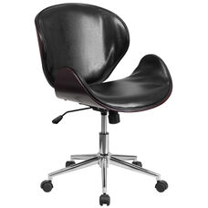 Mid-Back Mahogany Wood Conference Office Chair in Black Leather