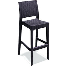 Jamaica Outdoor Wickerlook Resin Stackable Bar Stool - Brown