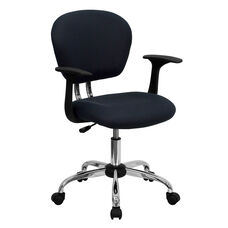 Mid-Back Gray Mesh Swivel Task Chair with Chrome Base and Arms