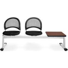 Moon 3-Beam Seating with 2 Black Fabric Seats and 1 Table - Mahogany Finish