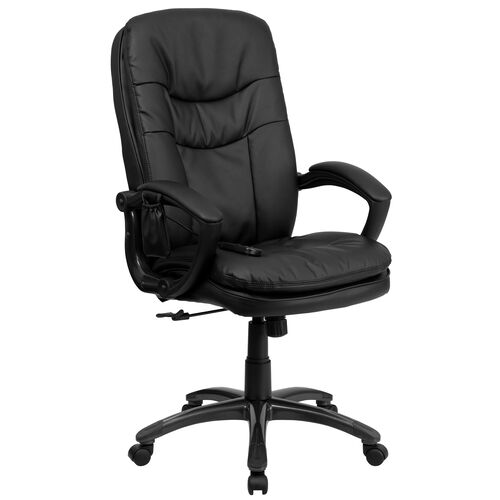 Our High Back Ergonomic Massaging Black Leather Executive Swivel Office Chair with Remote Pocket and Arms is on sale now.