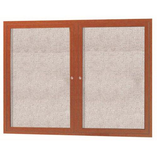 Our 2 Door Outdoor Enclosed Bulletin Board with Aluminum Wood-Look Oak Finish - 36