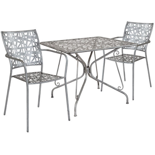 """Our Agostina Series 35.25"""" Square Antique Silver Indoor-Outdoor Steel Patio Table with 2 Stack Chairs is on sale now."""