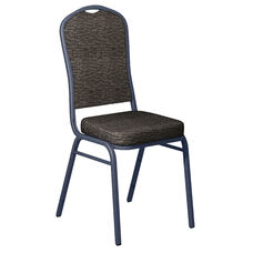Culp Fandango Ebony Fabric Upholstered Crown Back Banquet Chair - Silver Vein Frame