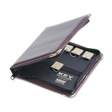 SteelMaster® Portable Zippered Key Case - 24-Key - Leather-Like Vinyl - Burgundy - 8 3/8 x 7