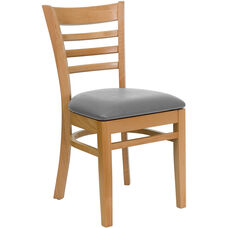 Natural Wood Finished Ladder Back Wooden Restaurant Chair with Custom Upholstered Seat