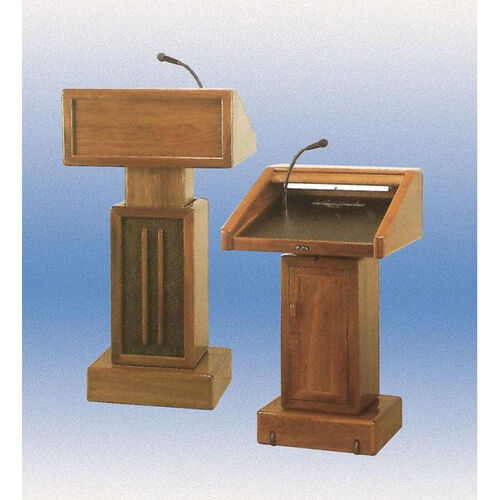 Our 326 Series Adjustable Height Wooden Lectern - Medium Oak - 29