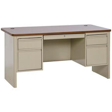700 Series 60'' x 30'' Double Pedestal Heavy Duty Teachers Desk - Putty Base with Medium Oak Top