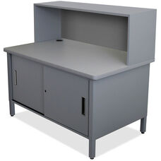 Mailroom Utility Table with Riser and Under Worksurface Lockable Cabinet - Slate Gray