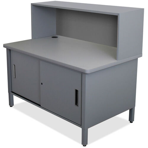 Our Mailroom Utility Table with Riser and Under Worksurface Lockable Cabinet - Slate Gray is on sale now.