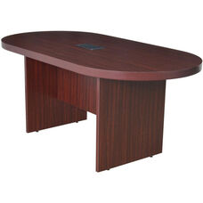 Legacy 71''W Racetrack Wooden Conference Table with Power Data Grommet - Mahogany