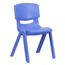 Blue Plastic Stackable School Chair with 15.5