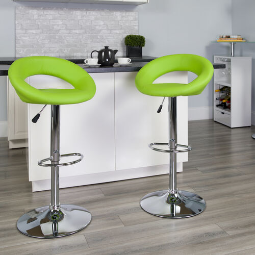 Contemporary Green Vinyl Rounded Orbit-Style Back Adjustable Height Barstool with Chrome Base