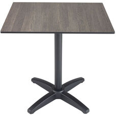 Element 36'' Square Outdoor Laminate Top with X-Shaped Black Table Base - Mali Wenge