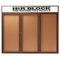 3 Door Enclosed Bulletin Board with Header and Walnut Finish - 48
