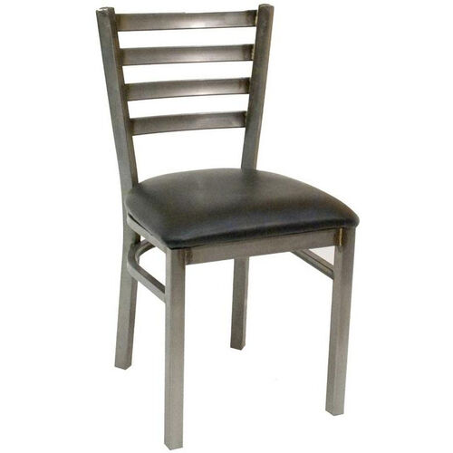 Our Quick Ship Armless Clear Coated Ladder Back Dining Chair - Black Vinyl Seat is on sale now.